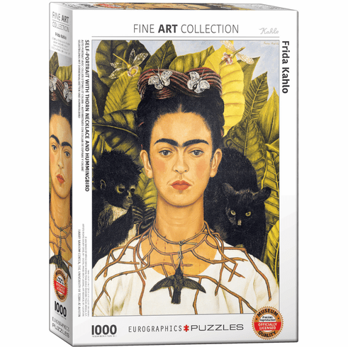 Frida Kahlo 1000 Piece Puzzle - Self-Portrait with Thorn Necklace and Hummingbird
