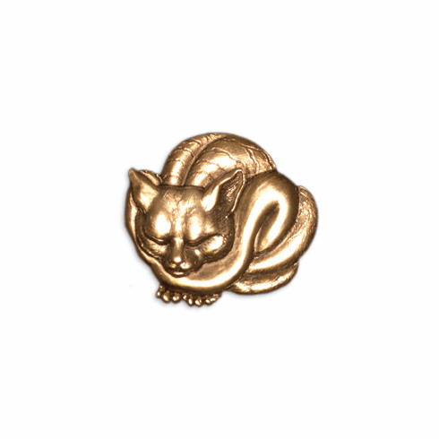 Japanese Cat Pin, Gold Plated