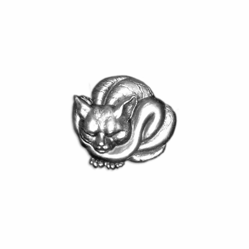 Japanese Cat Pin, Silver Plated