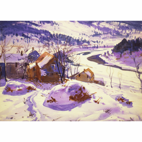 MFA <I>Snowy Landscape, with Hillside, Houses, and River</I> Holiday Cards