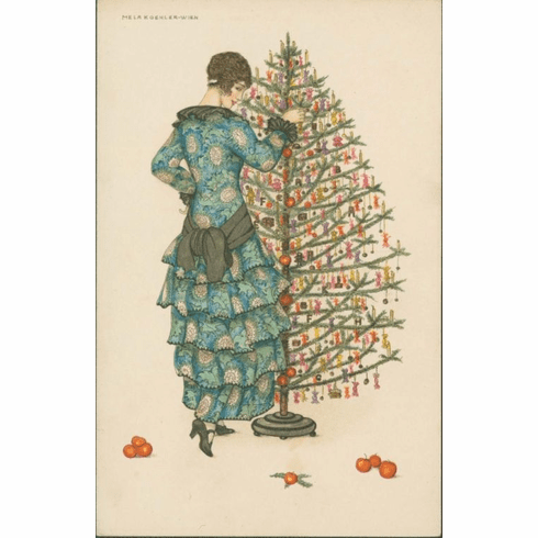 MFA <i>Woman In Blue Dress Decorating a Christmas Tree</i> Holiday Cards