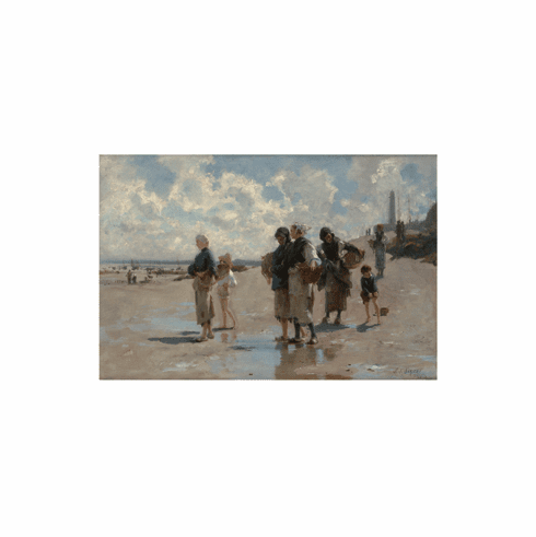 Sargent <i>Fishing for Oysters at  Cancale</i><br>11x14  Matted Print