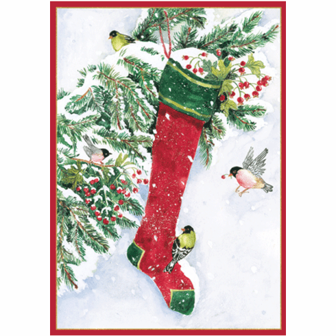 Stocking and Birds Holiday Card