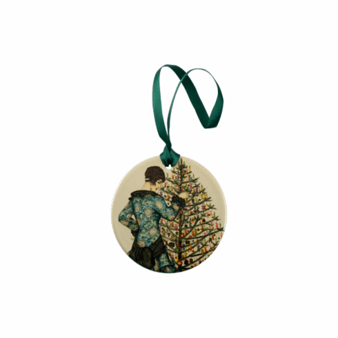 <i>Woman in blue dress decorating a Christmas tree</i> Holiday Ornament
