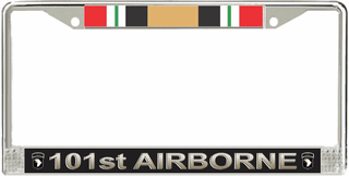 101st Airborne Division Iraq Veteran Service Ribbon License Plate Frame