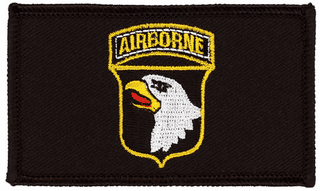 101st Airborne Hook and Loop Black Patch