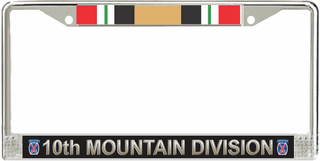 10th Infantry Division Iraq Veteran Service Ribbon License Plate Frame