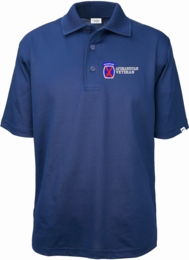 10th Mountain Division Afghanistan Veteran Authentically American Mens Moisture Wicking Polo