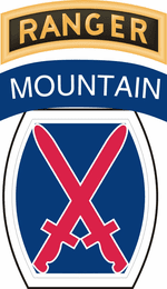 10th Mountain Division with Ranger Tab Sticker Decal