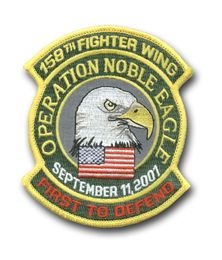 """158th FIGHTER WING """"OPERATION NOBLE EAGLE"""" MILITARY PATCH"""