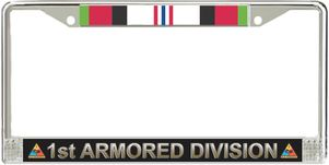 1st Armored Division Afghanistan Veteran Service Ribbon License Plate Frame