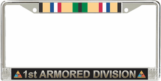 1st Armored Division Gulf War Veteran Service Ribbon License Plate Frame