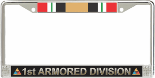 1st Armored Division Iraq Veteran Service Ribbon License Plate Frame