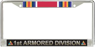 1st Armored Division World War Two Veteran Service Ribbon License Plate Frame