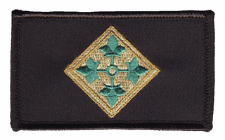 4th Infantry Hook and Loop Black Patch