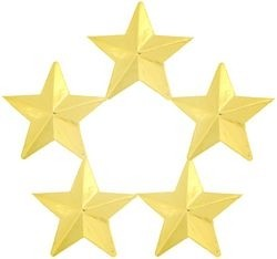 5 Star General Lapel Pin - Gold