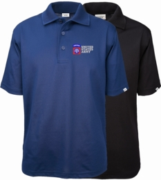 82ND Airborne Division United States Army Authentically American Mens Moisture Wicking Polo
