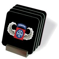 82nd Airborne Jump Wings Coasters - Set of 4