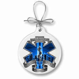 9/11 EMS Blue Skies we will never forget Christmas Ornament