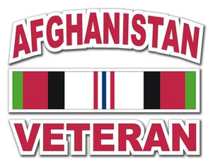 Afghanistan Veteran with Ribbon Decal