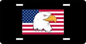 American Flag with Eagle License Plate