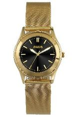 Aquaforce Elegant Ladies' Watch- Black with Gold Metal Strap