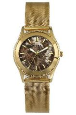 Aquaforce Elegant Ladies' Watch- Brown with Gold Metal Strap