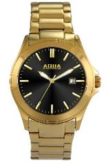 Aquaforce Elegant Men's Watch - Black with Gold Band