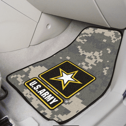 Army Camo 2-pc Printed Carpet Car Mat Set (18