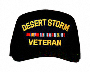 Desert Storm Veteran with Ribbons Ball Cap