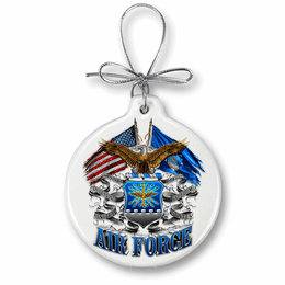 Double Flag Air Force Eagle Christmas Ornament