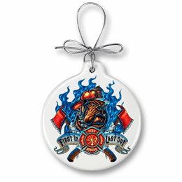 Fire Dog First in Last Out Christmas Ornament
