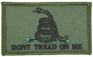 Gadsden Flag 2 x 3 Inch OD Green Hook and Loop Patch