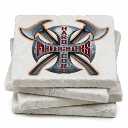 Hard Core Firefighters Natural Stone Coasters - Set of 4
