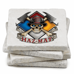 Haz Mat Firefighter Natural Stone Coasters - Set of 4