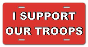 I Support Our Troops Red License Plate