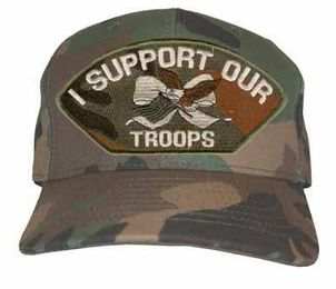 'I Support Our Troops' Woodland Camo Ball Cap