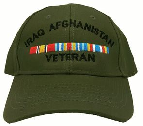 Iraq Afghanistan Veteran with Ribbons OD Green Cap