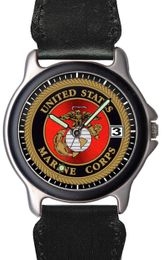 Marine Corps Chrome Watch with Leather/Nylon Strap