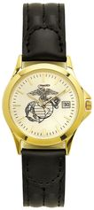 Marine Corps Watch with Deluxe Leather Strap