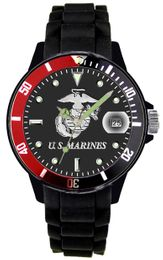 Marine Corps Watch with Etched Dial and Silicone Strap