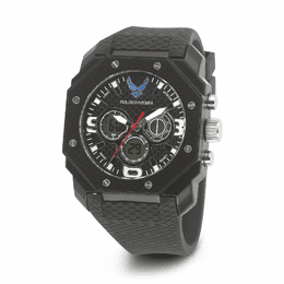 MEN'S U.S. AIR FORCE C28 MULTIFUNCTION WATCH, BLACK AND WHITE DIAL, BLACK RUBBER STRAP