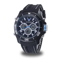 MEN'S U.S. AIR FORCE C29 MULTIFUNCTION WATCH, BLACK AND WHITE DIAL, BLACK RUBBER STRAP