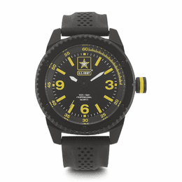 MEN'S U.S. ARMY C20 WATCH, BLACK AND YELLOW DIAL, BLACK RUBBER STRAP