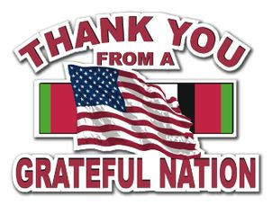 Military Thanks from a Grateful Nation Afghanistan Die-Cut Vinyl Decal