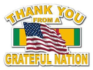 Military Thanks from a Grateful Nation Vietnam Die-Cut Vinyl Decal