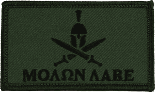 Molon Labe Helmet and Swords Hook and Loop OD Green Patch
