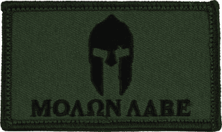Molon Labe Helmet OD Green Hook and Loop Patch