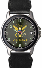 Navy Chrome Watch with Leather/Nylon Strap