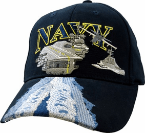 Navy USN with Aircraft Carrier Embroidered Ball Cap